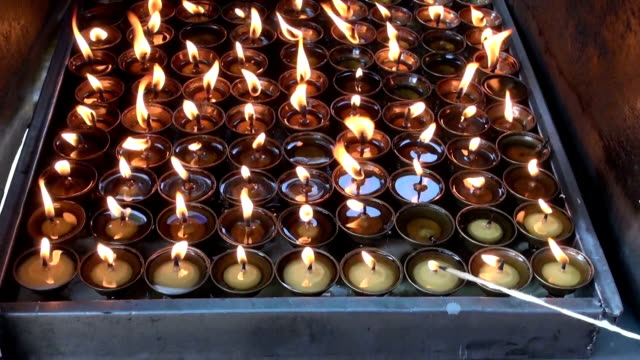 buddhist candles in Katmandu, Swayambhunath temple, Nepal video
