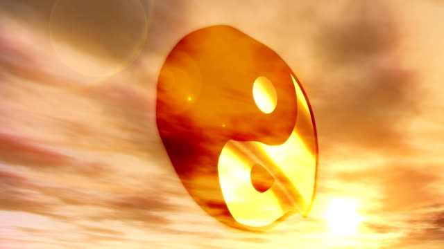 Buddhist Chinese Yin and Yang Philosophy Flag with Sunset video