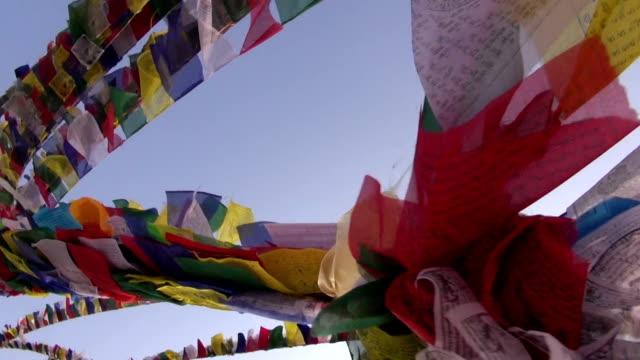 buddhist flag on bouddhnath stupa and camera motion, Katmandu,Nepal video