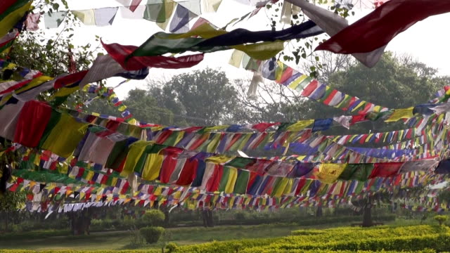 Buddhist flags in Buddha birthplace in Nepal video