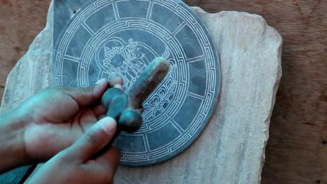 Buddhist Mani Slate Stone Carving Nepal video