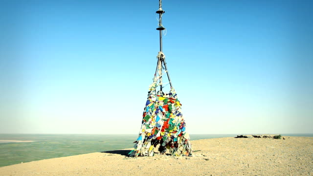 Buddhist obo on the hill by the lake Baskunchak. Russia video