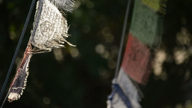 Buddhist prayer flags wave in the wind, close up video