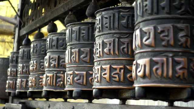 Buddhist prayer wheels. Swayambhunath Stupa, Kathmandu, Nepal video