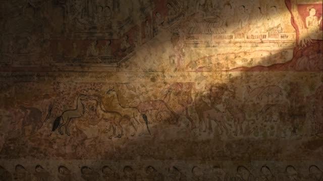buddhistiska väggfresker i bagan, myanmar - sten konstruktionsmaterial bildbanksvideor och videomaterial från bakom kulisserna