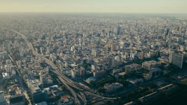 buenos aires cityscape, city center - argentyna filmów i materiałów b-roll