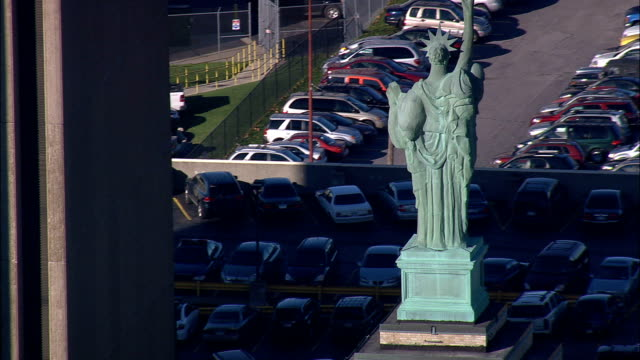 buffalo and statue on skyscraper  - Aerial View - New York,  Erie County,  United States video