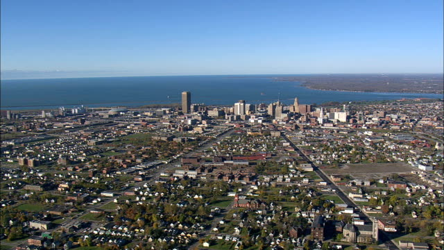 buffalo city suburbs - aerial view - new york,  erie county,  united states - niagara falls stock videos & royalty-free footage