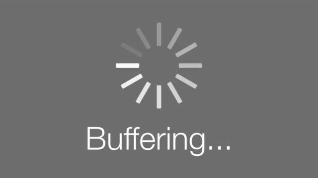 Buffering Loading Symbol - loop. 4K A looping animated computer buffering loading symbol on a grey background. progress bar stock videos & royalty-free footage