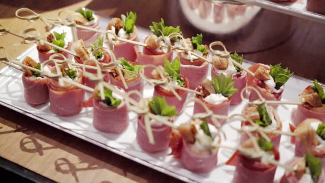 buffet table catering fourchette,buffet table aperitif stock videos & royalty-free footage