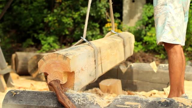 build a house from logs - wood texture filmów i materiałów b-roll