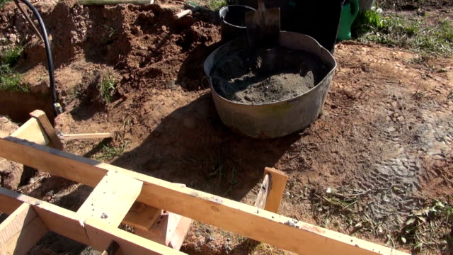Builder mixing cement