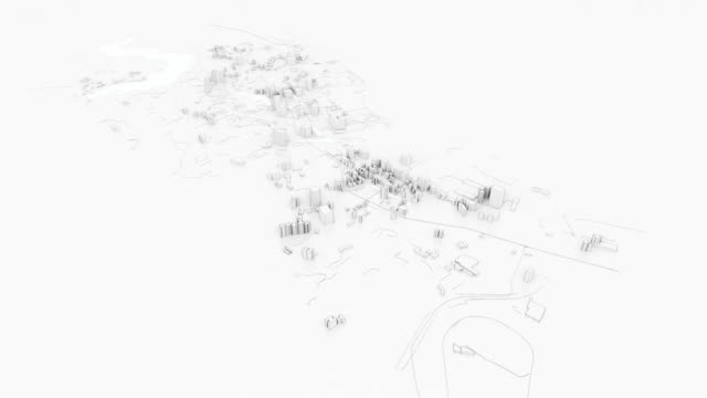 Building an abstract white 3D city with buildings and roads in virtual space Building an abstract white 3D city with buildings and roads in virtual space. 3D rendering video. Aerial view. Construction concept. Outline style wire frame model stock videos & royalty-free footage