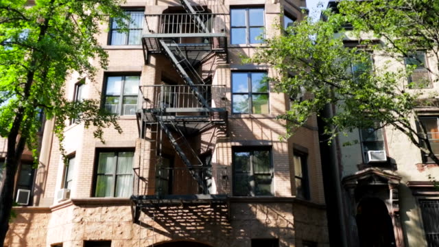 building in brooklyn with emergency staircase in front - new york architecture stock videos & royalty-free footage