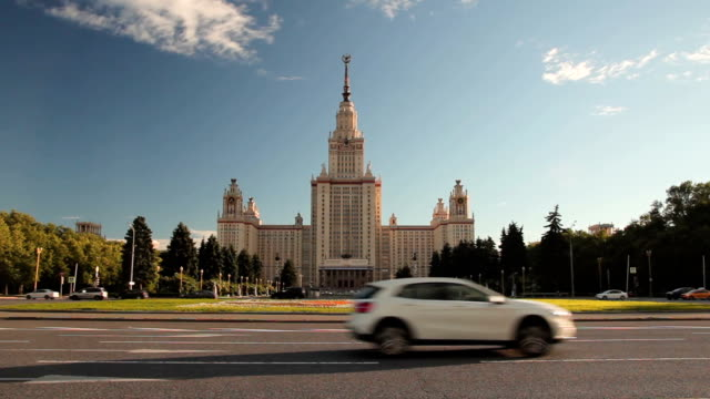 Building in the style of Stalin Architecture Car traffic in front of the building in the style of Stalin Architecture general view stock videos & royalty-free footage
