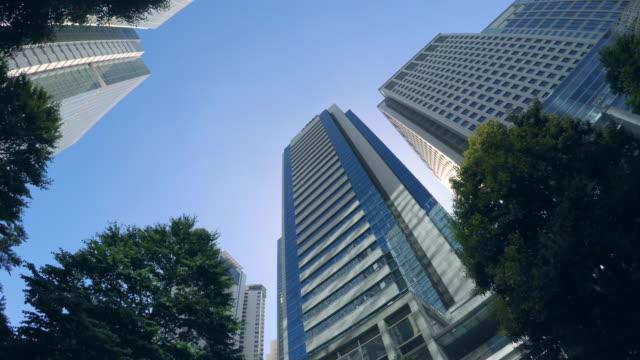 ビルビュールックアップ-bulk 5 -4 k - 緑 ビル点の映像素材/bロール