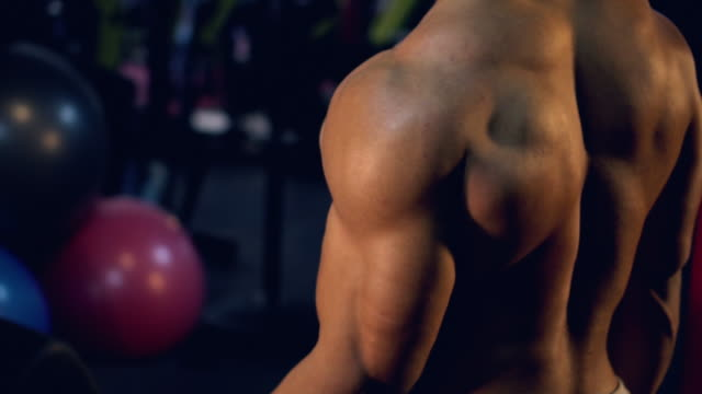 Building Muscles Man:Video slow motion. video