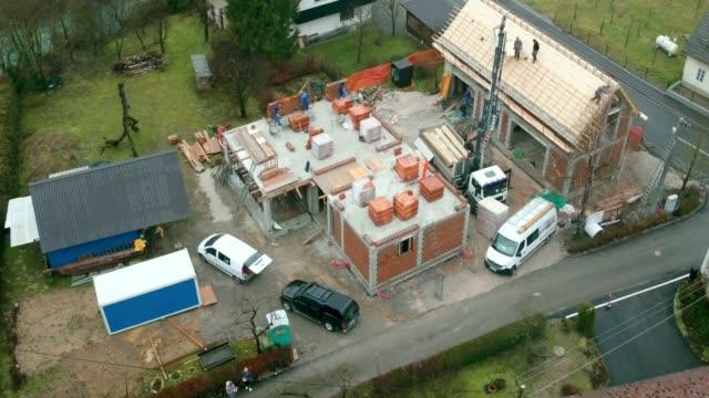 AERIAL Building site in the suburban area