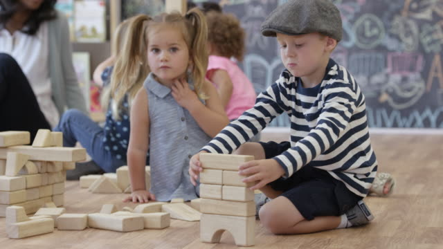 Building Toy Blocks at Preschool video