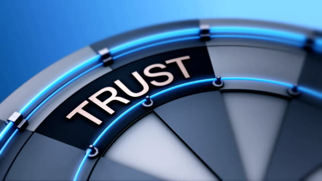 Building trust corporate business as symbol word on wheel of fortune 4K UHD video animation