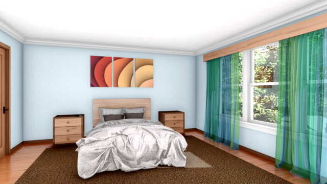 Building up comfortable bedroom interior 3d animation Building up of modern bright comfortable bedroom interior with double bed and other furnishings. Concept design realistic 3D animation. renovation stock videos & royalty-free footage