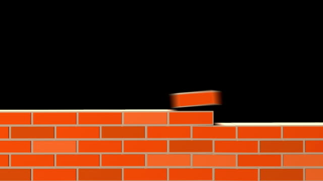 Building Wall of red bricks . Building Wall of red bricks . Industrial 3d animation. Included alpha channel brick stock videos & royalty-free footage