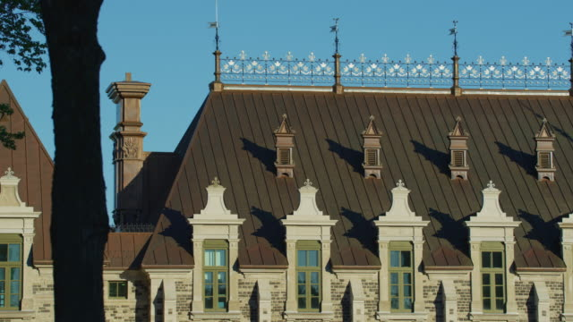 Building with adorned roof Building with a adorned roof, in Quebec City, Canada. dormir stock videos & royalty-free footage