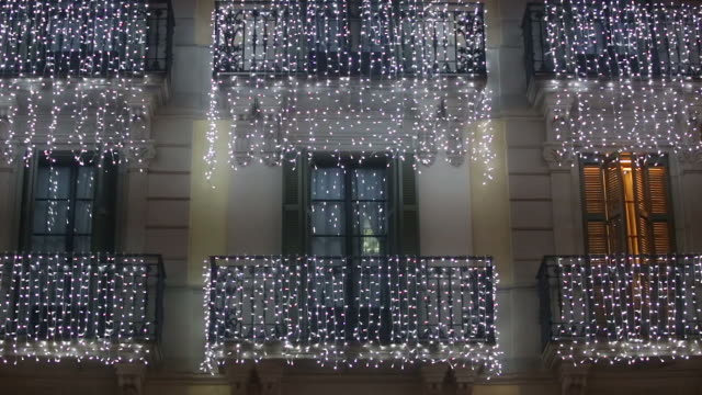 Building with Christmas lights video