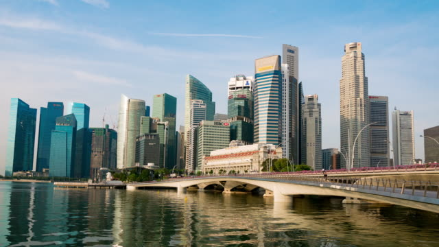 Buildings and financial towers at Marina Bay, Singapore video