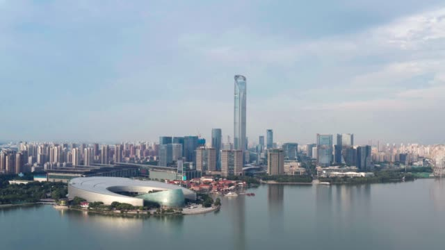 CBD buildings by Jinji Lake in Suzhou, China. CBD buildings by Jinji Lake in Suzhou, China. Urban architecture photography. china east asia stock videos & royalty-free footage
