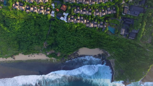 buildings in island by drone video