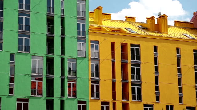 Buildings with bright facades video