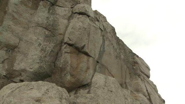 Buisness man climbs mountain video