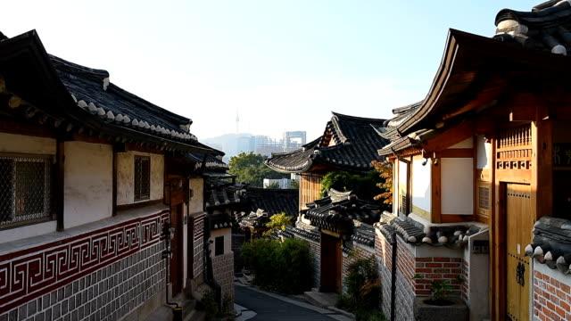 Bukchon Hanok Village in Seoul , South Korea Bukchon Hanok Village in Seoul , South Korea namsan seoul stock videos & royalty-free footage
