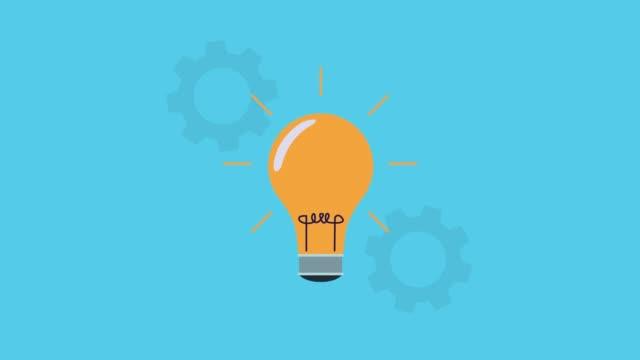 Bидео bulb and gears settings animated