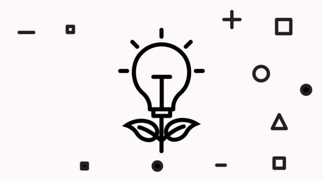 glühbirne blatt, recycling linie vektor-symbol-animation mit alpha - flat design videos stock-videos und b-roll-filmmaterial