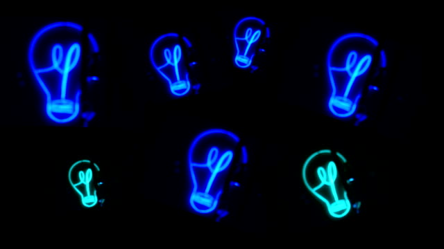 Bulb, Light, Blue Neon Animation, 50mm, Close shot neon colored stock videos & royalty-free footage