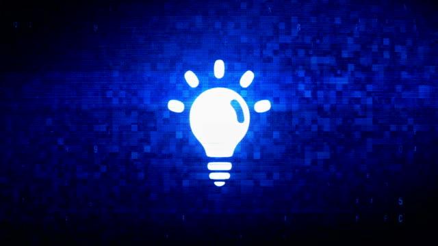 Bulb Light Symbol Digital Pixel Noise Error Animation.