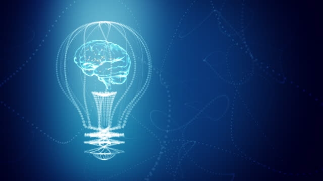 Bulb with a brain inside concept design, blue abstract background. digital animation. Seamless loop, repeat from second 4.