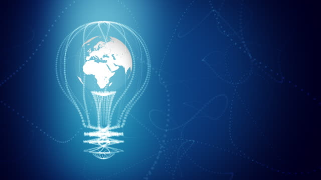 Bulb with the world inside concept design, blue abstract background. digital animation. Seamless loop video