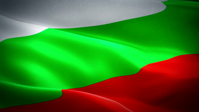 bulgaria flag video waving in wind. realistic bulgarian flag background. bulgaria flag looping closeup 1080p full hd 1920x1080 footage. bulgaria eu european country flags/ another flags available - check my profile - kiss стоковые видео и кадры b-roll