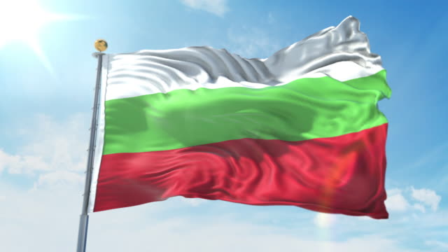 Bulgaria flag waving in the wind against deep blue sky. National theme, international concept. 3D Render Seamless Loop 4K Bulgaria flag waving in the wind against deep blue sky. National theme, international concept. 3D Render Seamless Loop 4K allegory painting stock videos & royalty-free footage