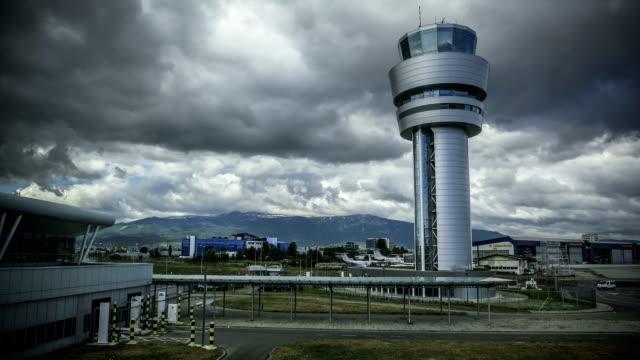 Bulgaria Sofia airport tower cloudscape timelapse video