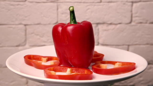 Bulgarian pepper on a rotating plate
