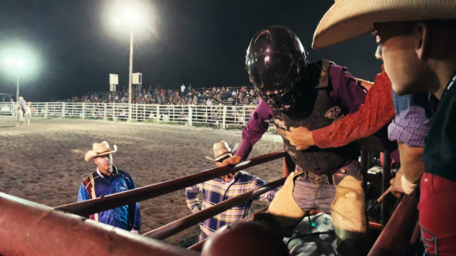 A Bull Rider Wearing a Protective Helmet Prepares to Sit on a Bull in an Animal Pen before Competing in a Bull Riding Event in a Stadium Full of People at Night