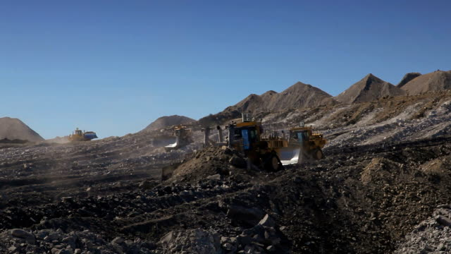 4 Bulldozers moving earth at a coal mine video