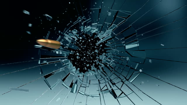 Bullet exploding a glass pane video