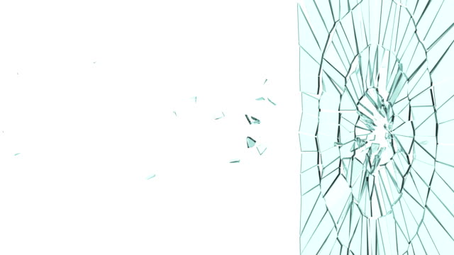 Bullet hole: Broken glass and destruction with slow motion video