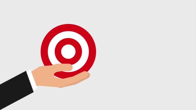 bullseye or target and arrow hitting icons video