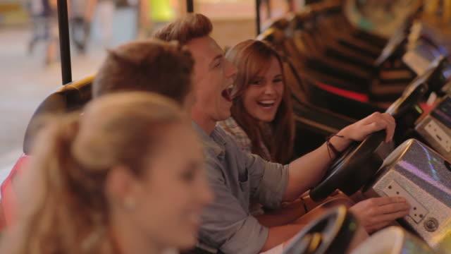 bumper cars - fritidsanläggning bildbanksvideor och videomaterial från bakom kulisserna